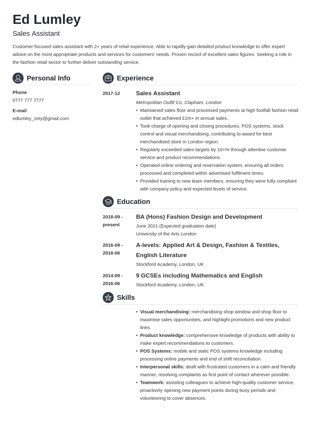 uk retail cv example template crisp in 2020 Cv examples