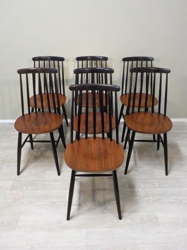 frisch fertig klassiker stuhl mit schwarzen sprossen in der r ckenlehne und teak sitzfl che. Black Bedroom Furniture Sets. Home Design Ideas