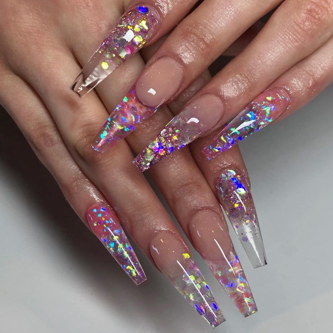 Maja Like Maya Stark On Instagram Sculpted Coffin Nails Mylar Smile Line Chunky Glitter Book Yo Chunky Glitter Nails Squoval Nails Glass Nails