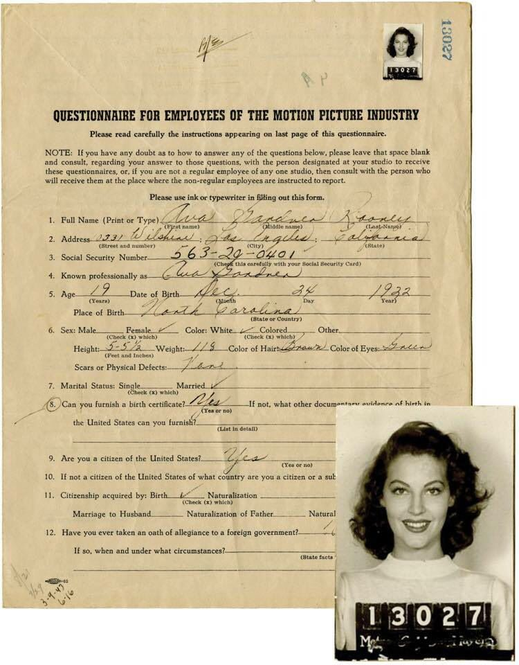 Ava Gardneru0027s Motion Picture Employee Form Classic Hollywood - employee form