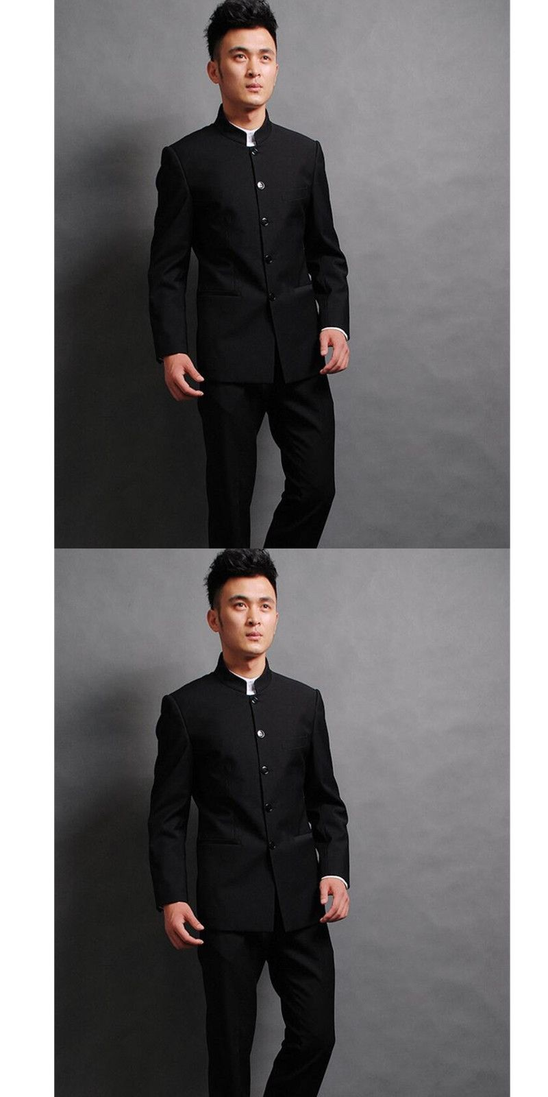 29d7a59881d Chinese wind stand collar groom men suit high quality wedding dress terno slim  fit black two-piece mens suits (jacket + pants)