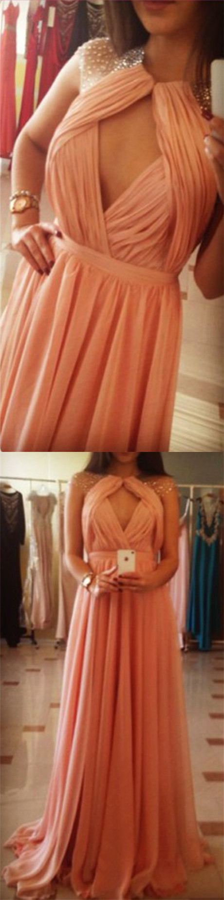 Modern round neck illusion back cap sleeves keyhole peach prom dress