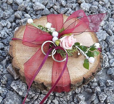 Ring pillow ring holder wooden disc round burgundy for …