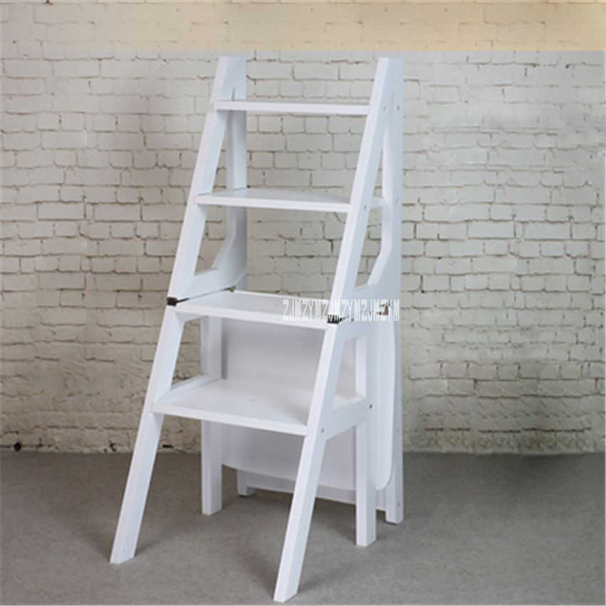 Multi Functional Four Step Library Ladder Stool Solid Wood Ladder Chair Household Folding Wooden Chair Step Ladd Ladder Chair Wooden Chair Folding Wooden Stool