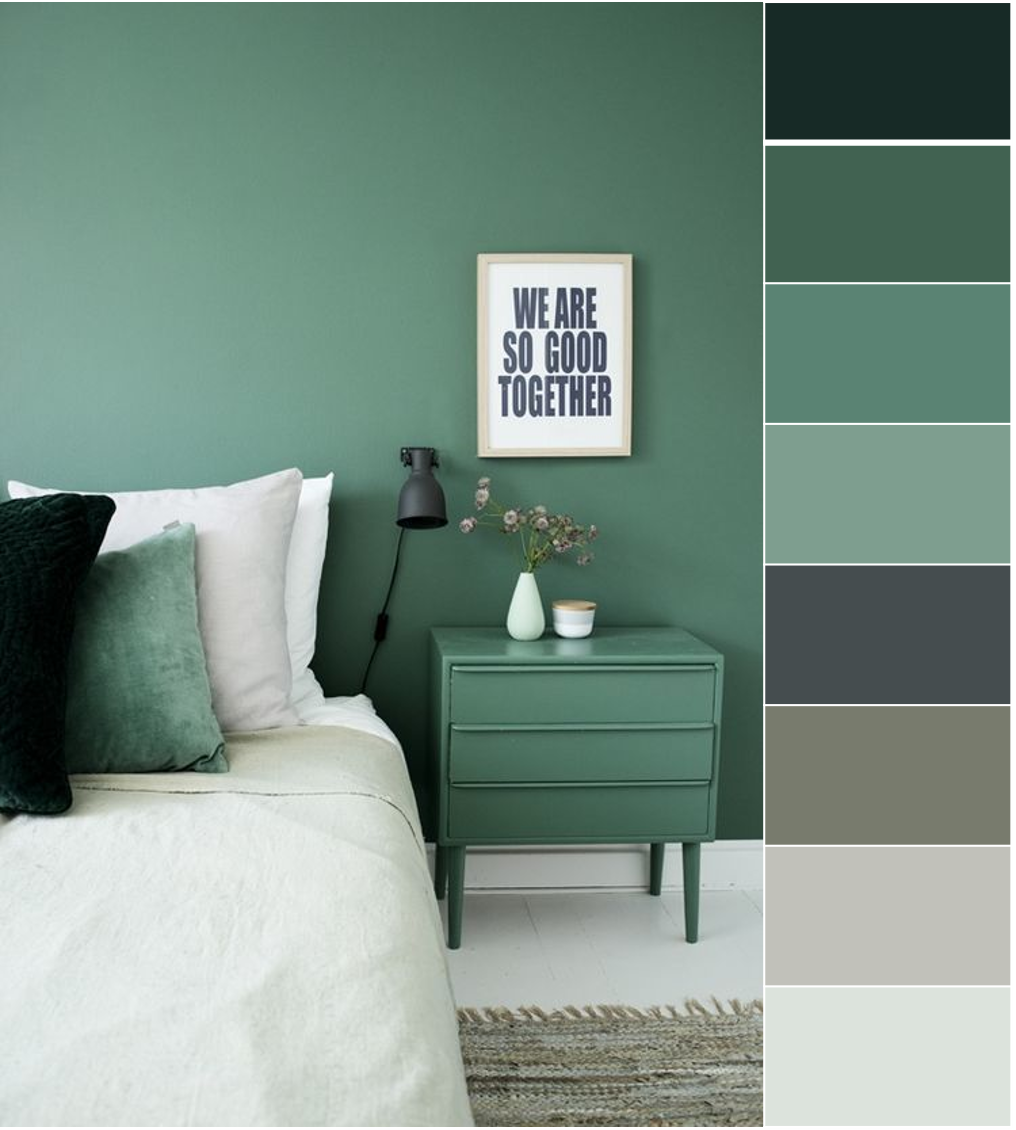 Grey and green bedroom color ideas | home color ideas , grey and ...