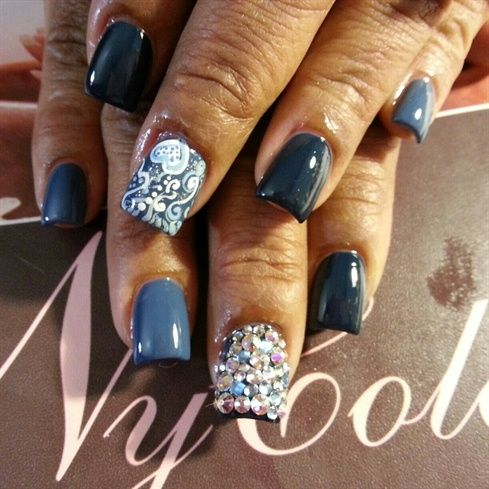 Denim Amp Amp Diamonds Denim And Diamonds Diamond Nail Art