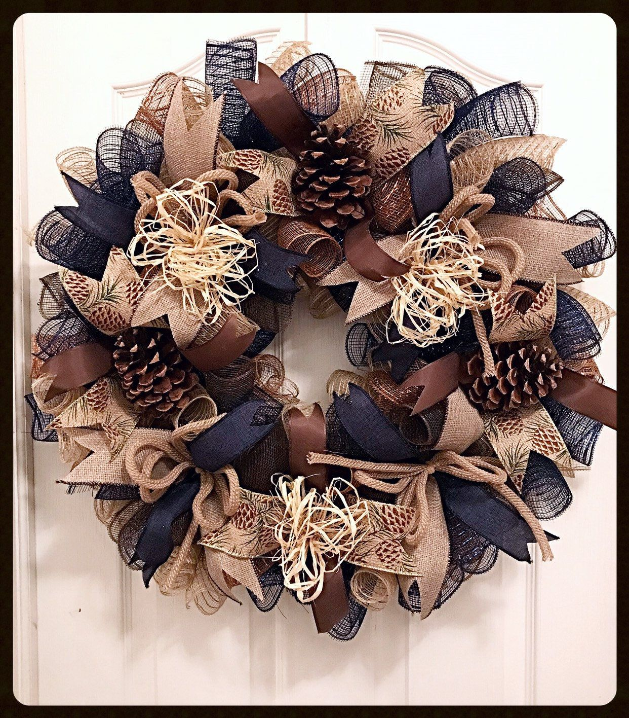 Photo of Navy Burlap and Brown Deco Mesh Wreath / Burlap Wreath / Country Wreath / Navy Wreath / Cabin Wreath