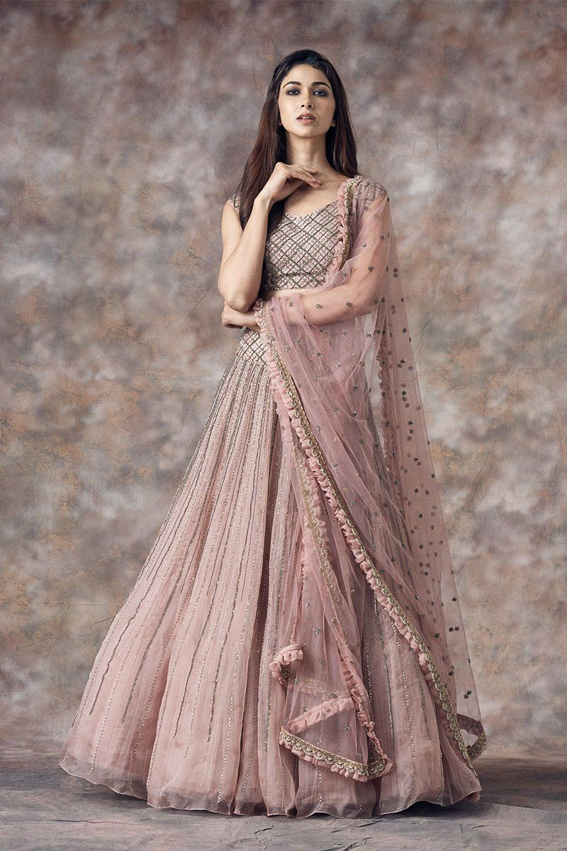 A Pastel Pink Amp Grey Color Embrodered Lehenga Ff1509 In