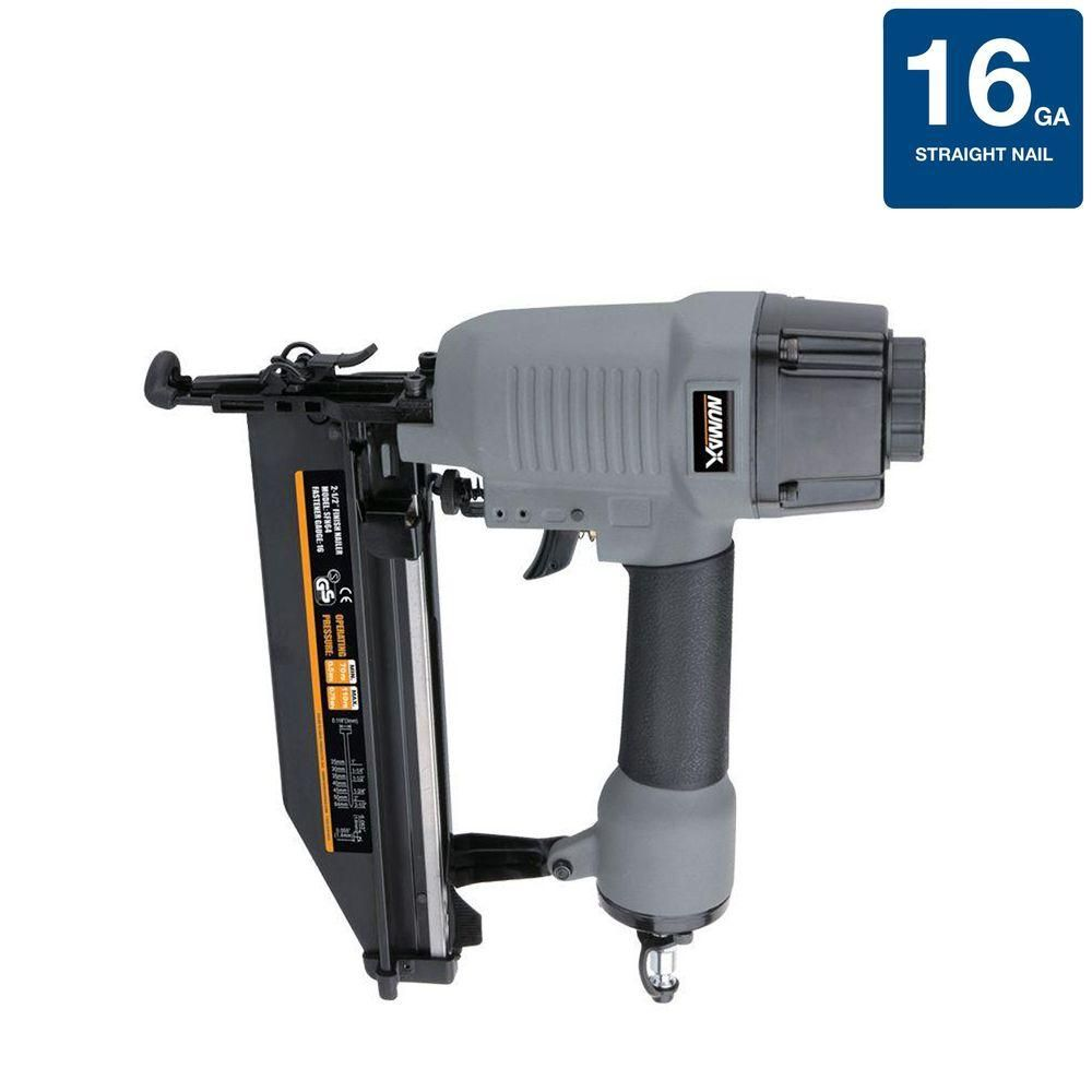 Numax Pneumatic 16 Gauge 2 1 2 In Straight Finish Nailer Sfn64 Finish Nailer Window Casing Air Tools