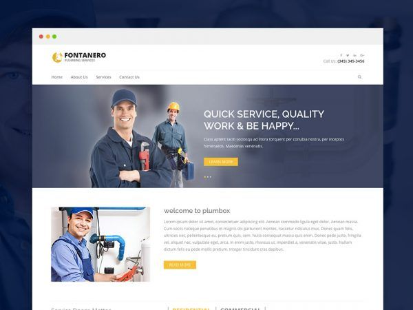 Fontanero Free Responsive Plumbing Construction Repair Html5 Website Template