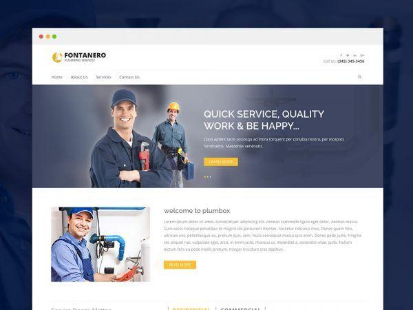 Fontanero Free Responsive Plumbing Construction Repair Html5 Website Template Construction Repair Website Template Html5 Templates