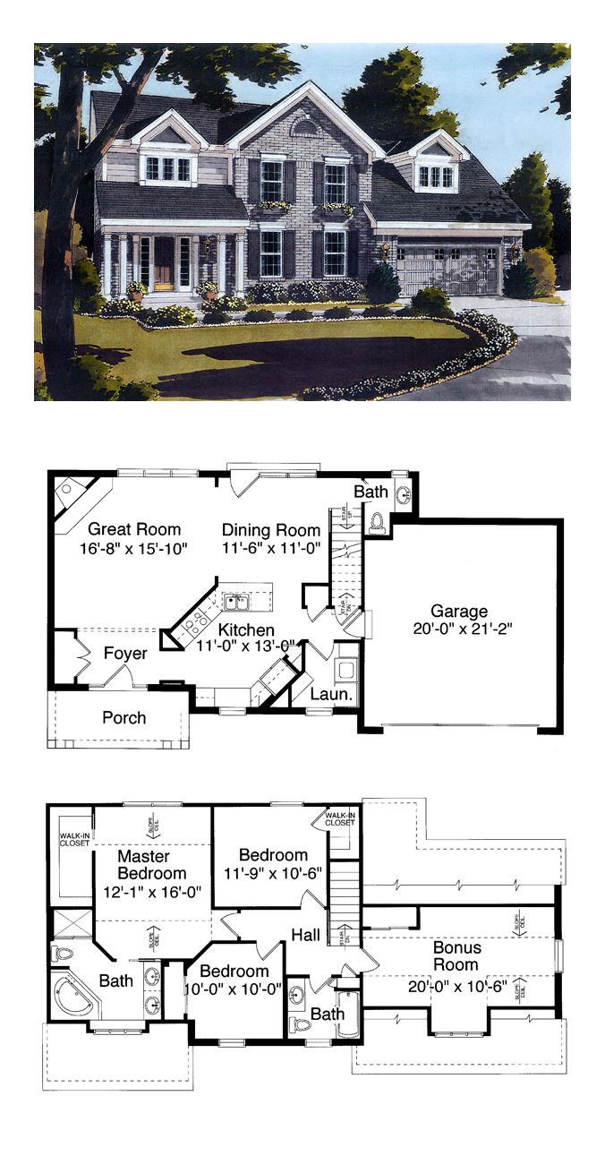 Colonial Style Cool House Plan Id Chp 33644 Total Living Area 1575 Sq Ft 4 Be Country Style House Plans Colonial House Plans Craftsman Style House Plans