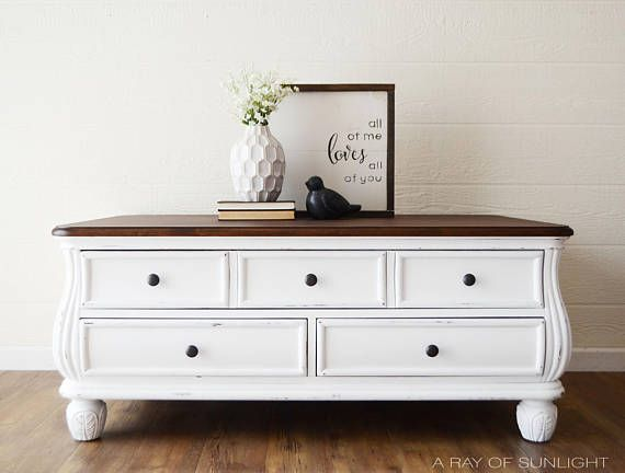 Sold White Coffee Table With Dark Walnut Top Painted Furniture