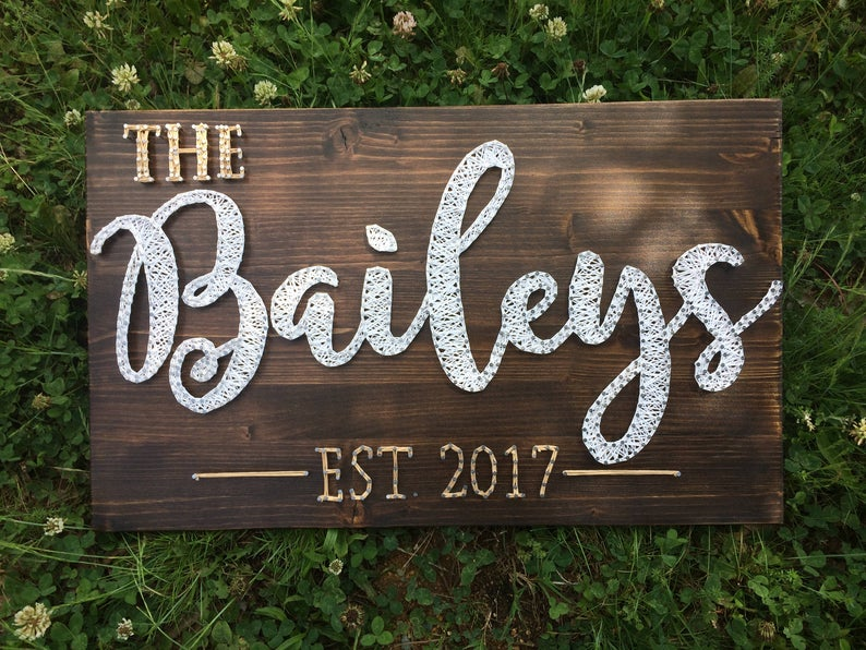 Wooden String Art Sign Name
