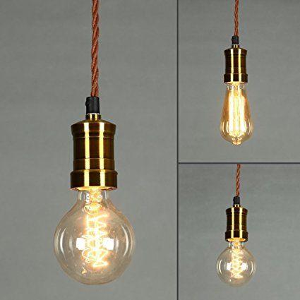 ONEPRE Vintage Hanging Pendant Light, Retro Pendant Lighting Kit, Brass Lamp  Holder, Ceiling