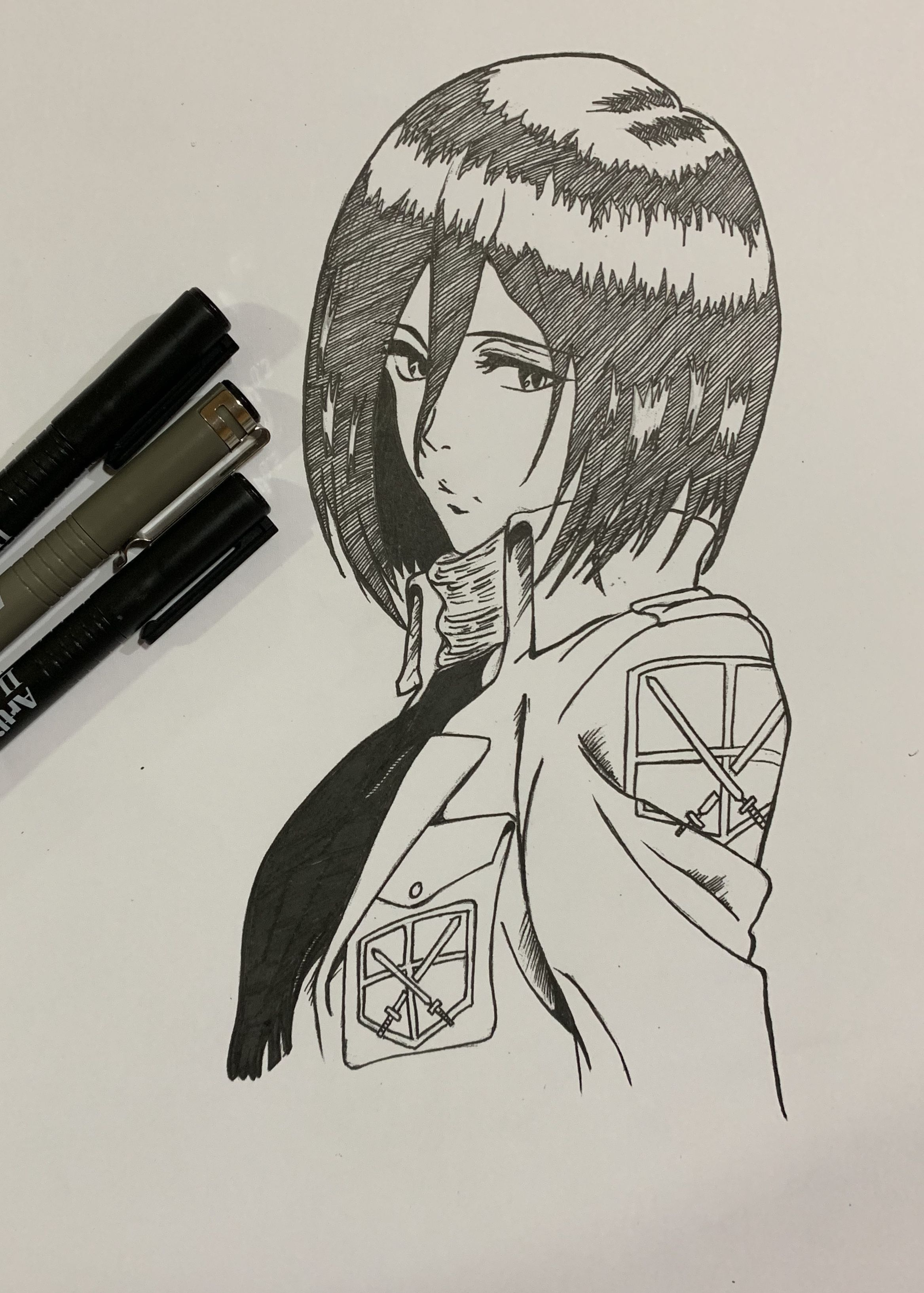 Mikasa from Attack on Titan Anime drawing Ink