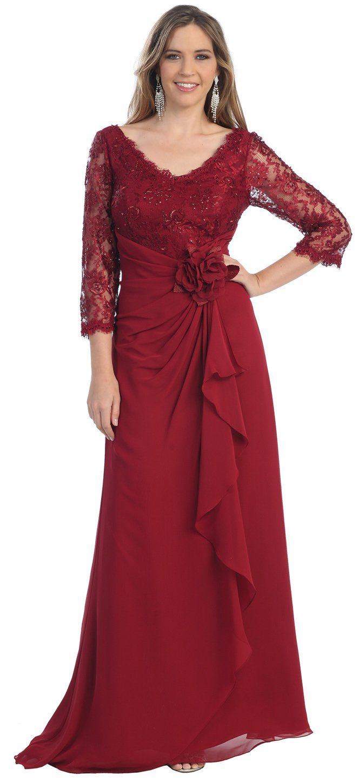 Mother of the bride formal evening dress medium burgundy
