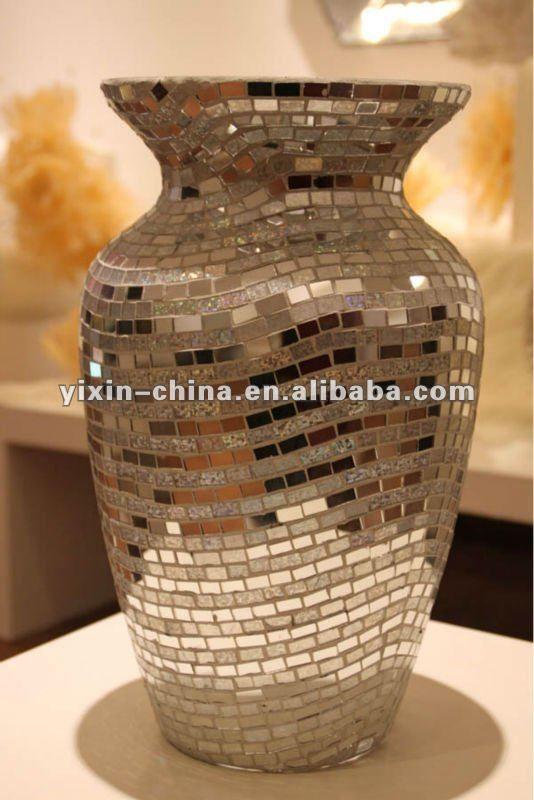 hecho a mano grande plateado espejo de mosaico de vidrio flores jarrones decorativos identificacin del - Jarrones Decorados