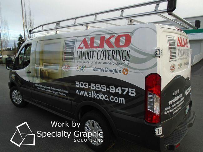 The Alko Window Coverings 2017 Ford Van Gets A New Custom Wrap Vehiclewrap Vancouverwa Custom Wraps Custom Sign Custom
