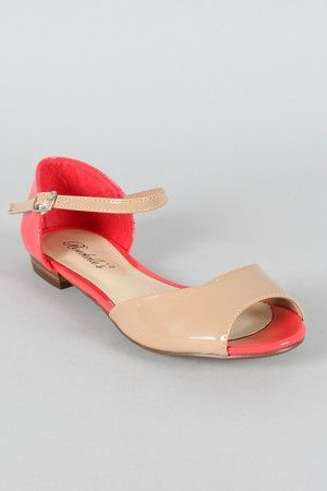 b114a715d8e5dd Breckelle Becky-38 Two Tone Peep Toe Flat Sandal  18.20 They are adorable!!!  Not my size though  (