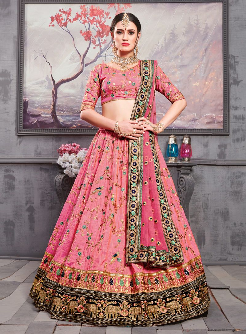dff69a3ef Buy Pink Banarasi Silk A Line Lehenga Choli 146105 online at best price  from vast collection of Lehenga Choli and Chaniya Choli at  Indianclothstore.com.