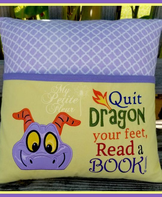 Purple Dragon Design with Dragon Feet Saying Add On | Book Pillow