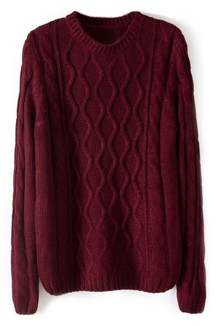 4cce9cbc670d Diamond Knitted Loose Burgundy Jumper
