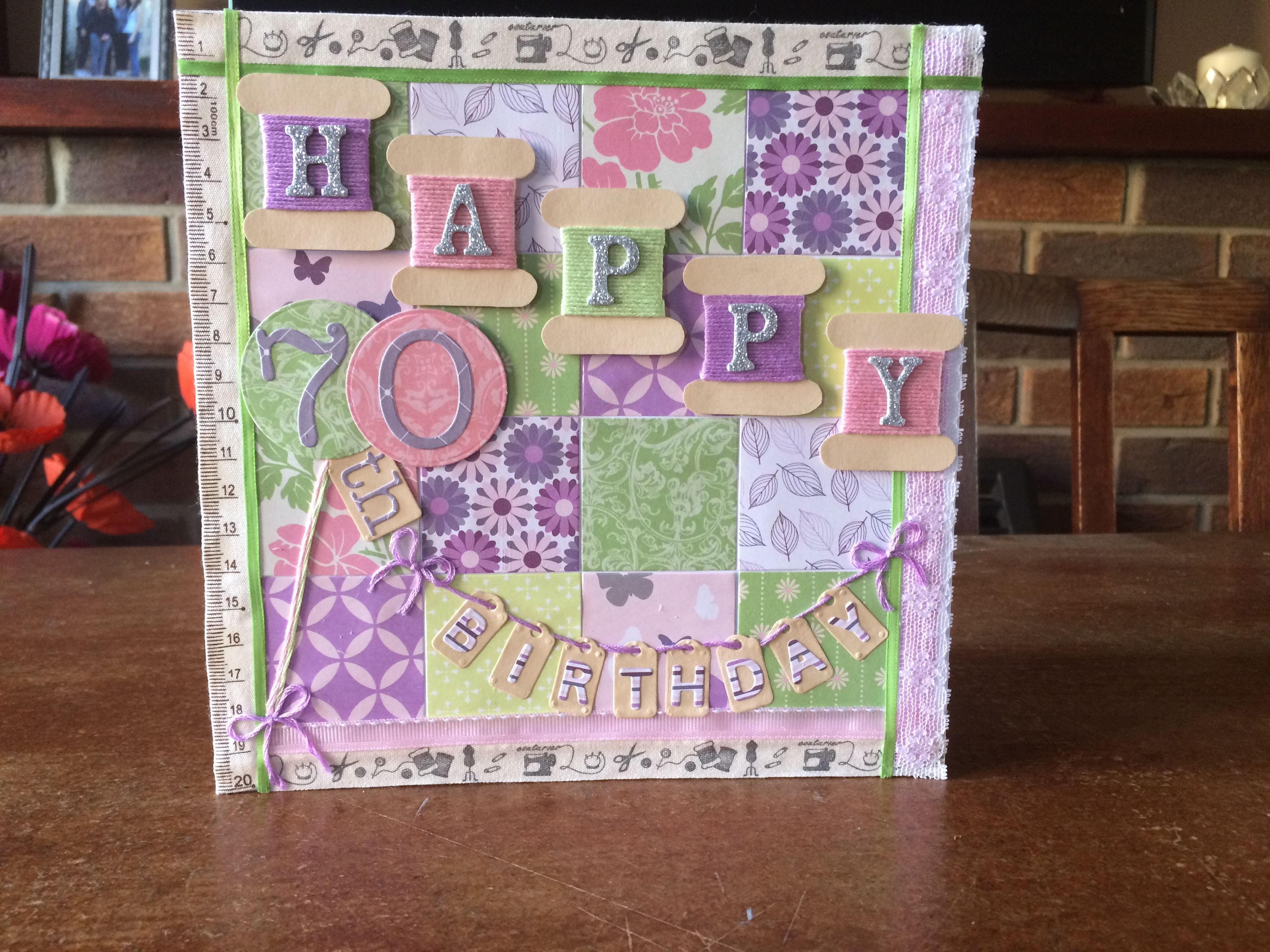 Handmade 70th birthday card sewing and patchwork theme can be handmade 70th birthday card sewing and patchwork theme can be personalised with different age bookmarktalkfo Image collections