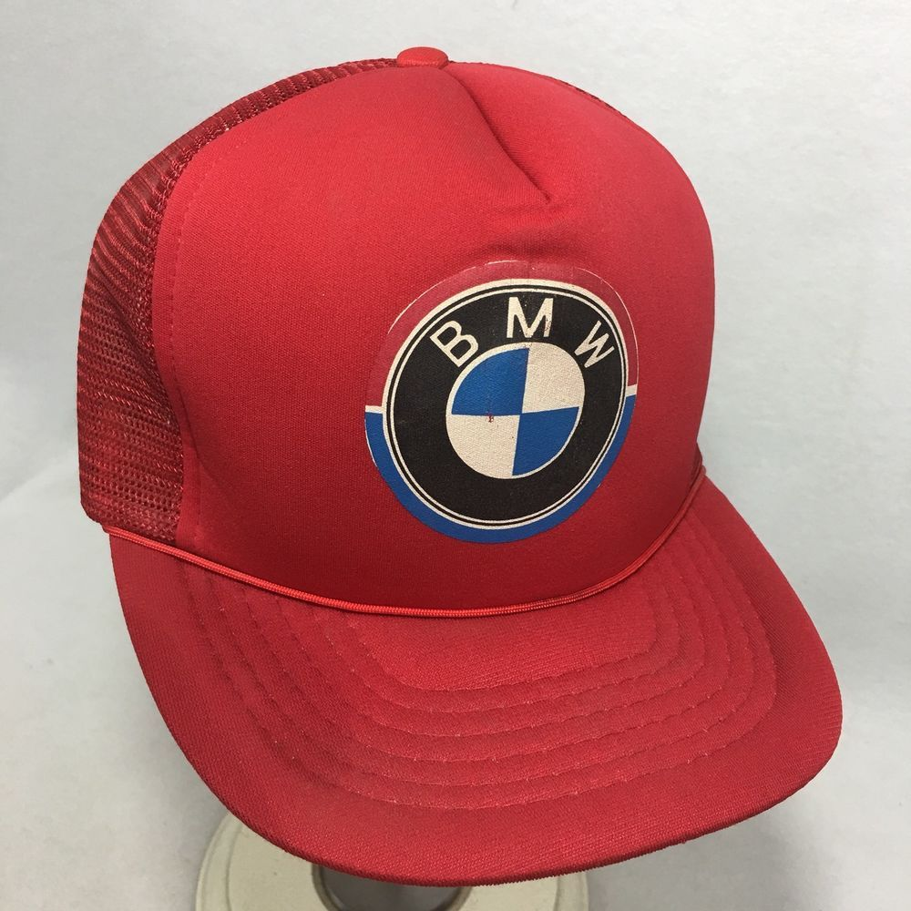 ed5c3e8879842 VTG BMW Hat Red Mesh Adjustable Snapback Mesh Trucker Ball Cap Logo Foam   BMW  BaseballCap