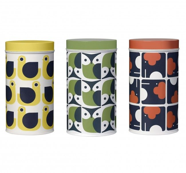 Orla Kiely Set Of 3 Storage Tins Canisters Hen Owl