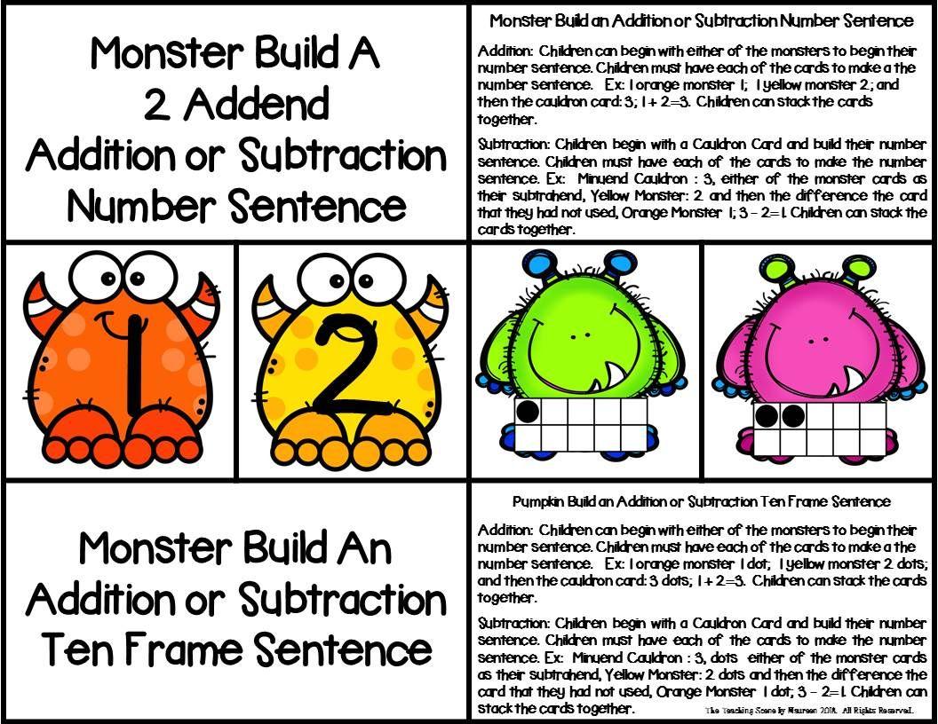 Monster Build A 2 Addend Number Sentence With Ten Frames