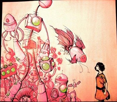 A More Artistic Depiction Of The Flaming Lips Song Yoshimi Battles The Pink Robots Robots Artworks Artwork Robot Parts