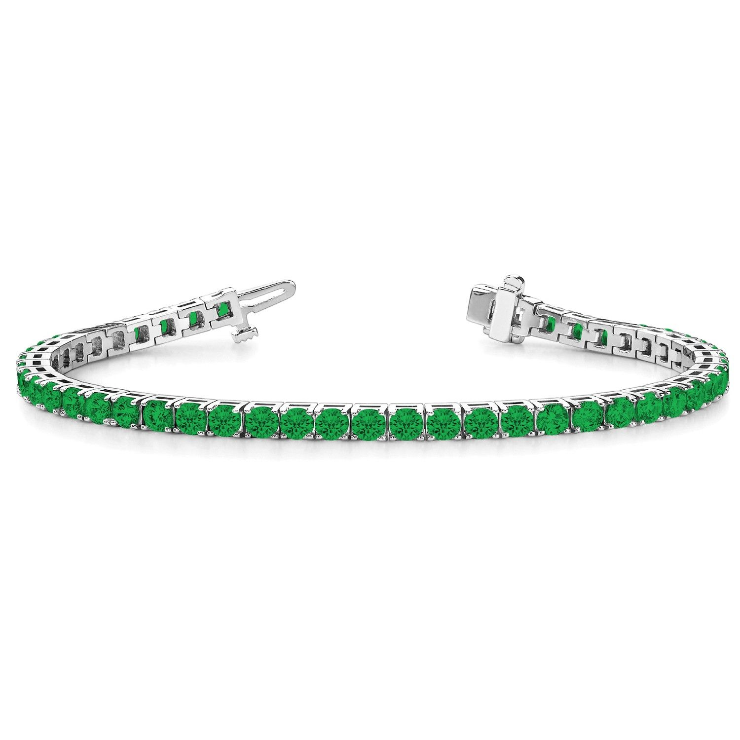 Angara Princess Cut Diamond and Emerald Tennis Bracelet in White Gold 758OWkvP3
