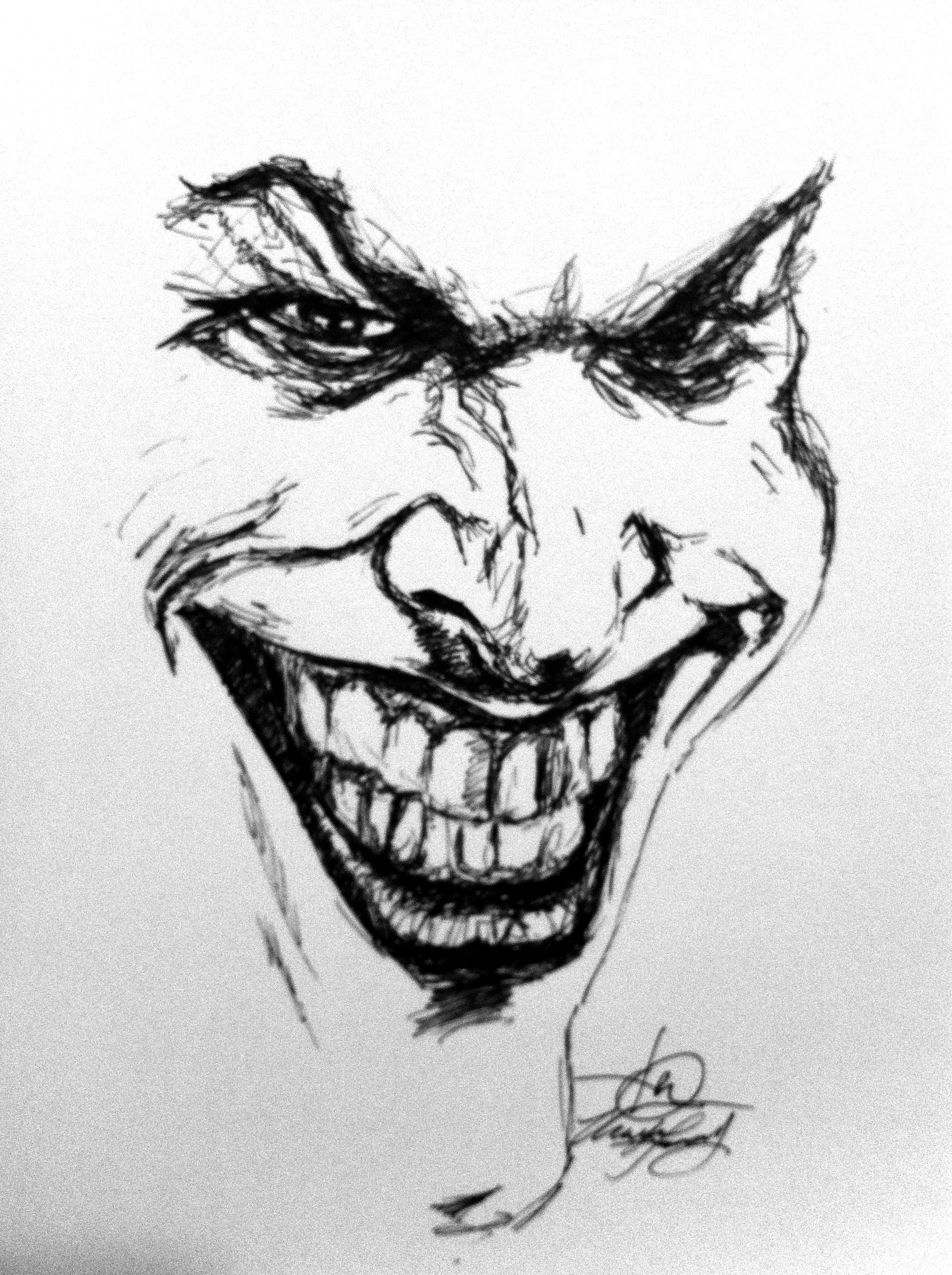 Joker Scribble Drawing : Joker sketch art