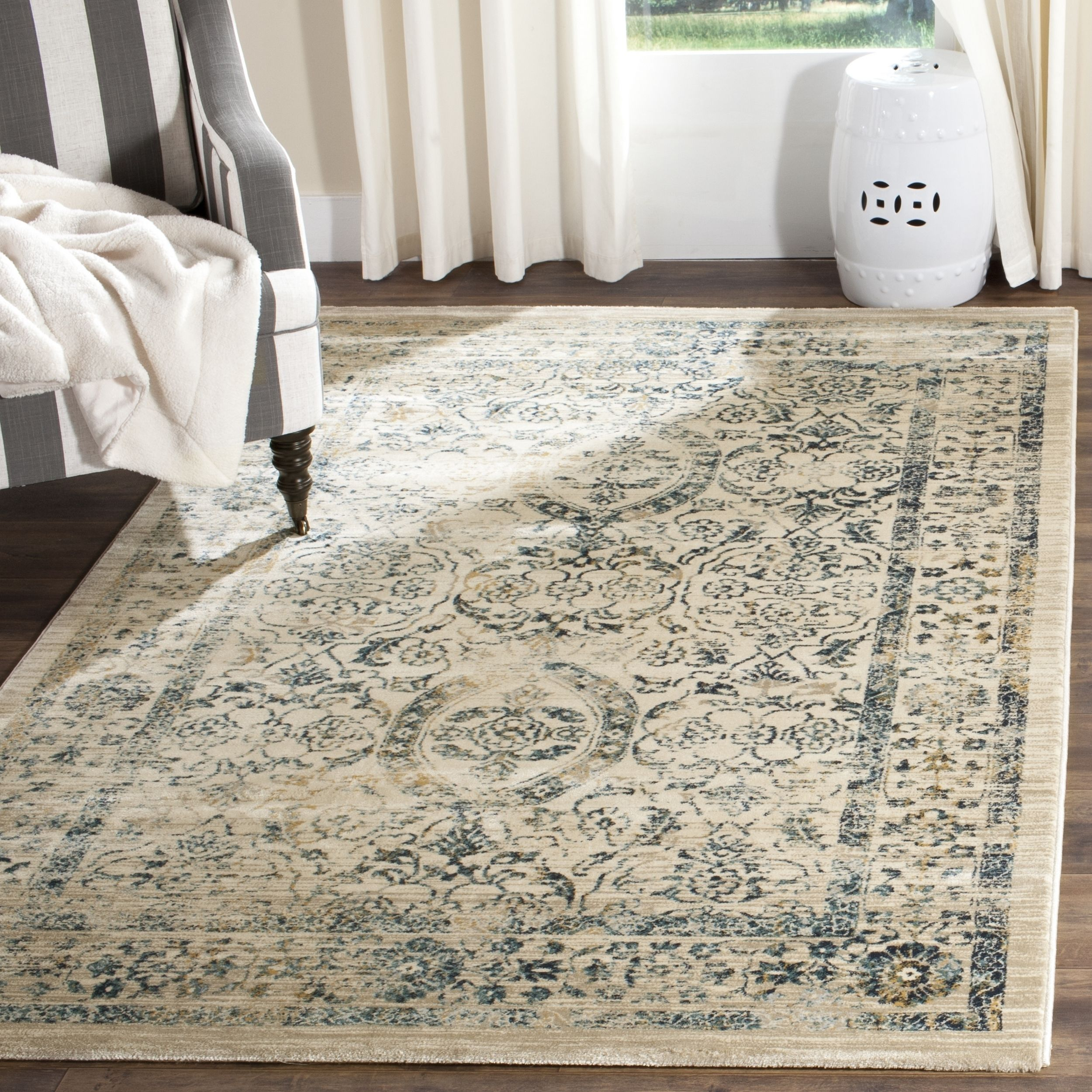 safavieh evoke vintage oriental beige/ turquoise distressed rug