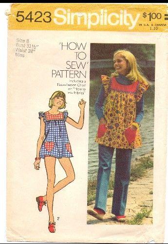 Vintage - 1970s Sewing Patterns Smock - Top - Pants - Bikini Shorts ...