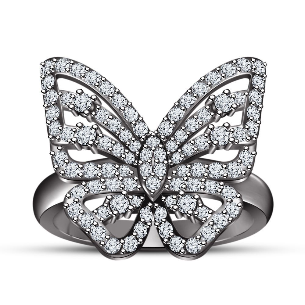 10K Black Gold Ladies Womens Butterfly Shape Designer