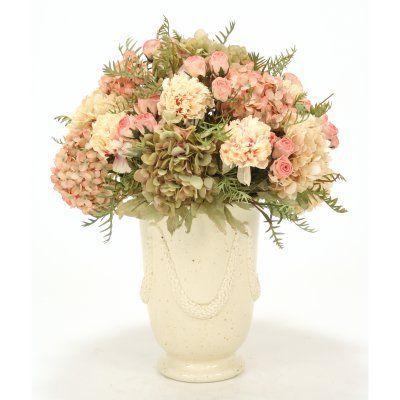 Distinctive Designs Pastel Hydrangea Peony and Rose Mix Silk Flower in Urn - 6908