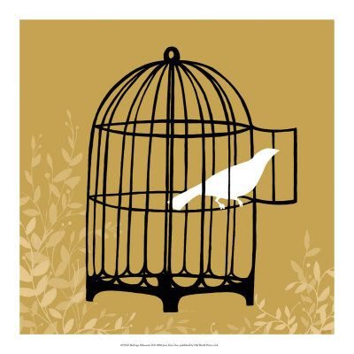 Birdcage Silhouette II   Silhouette, Printing and Giclee print