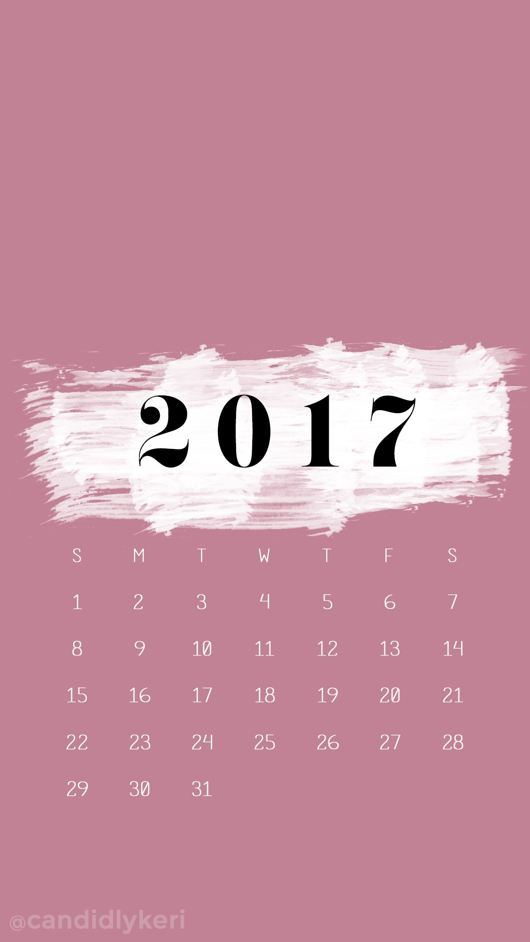 November Calendar Wallpaper For Iphone : Pink and white paint strokes january calendar