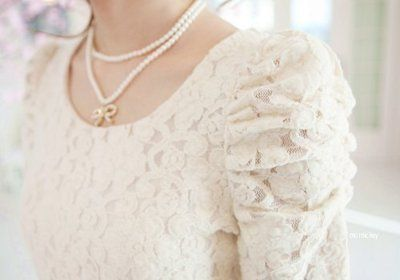 Ruched white lace shirt