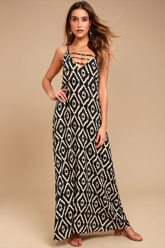 6da36f93ea Add a little adventure to your wardrobe with the Sightseeing Safari Brown  Print Maxi Dress! Brown and beige ikat print decorates this breezy, ...