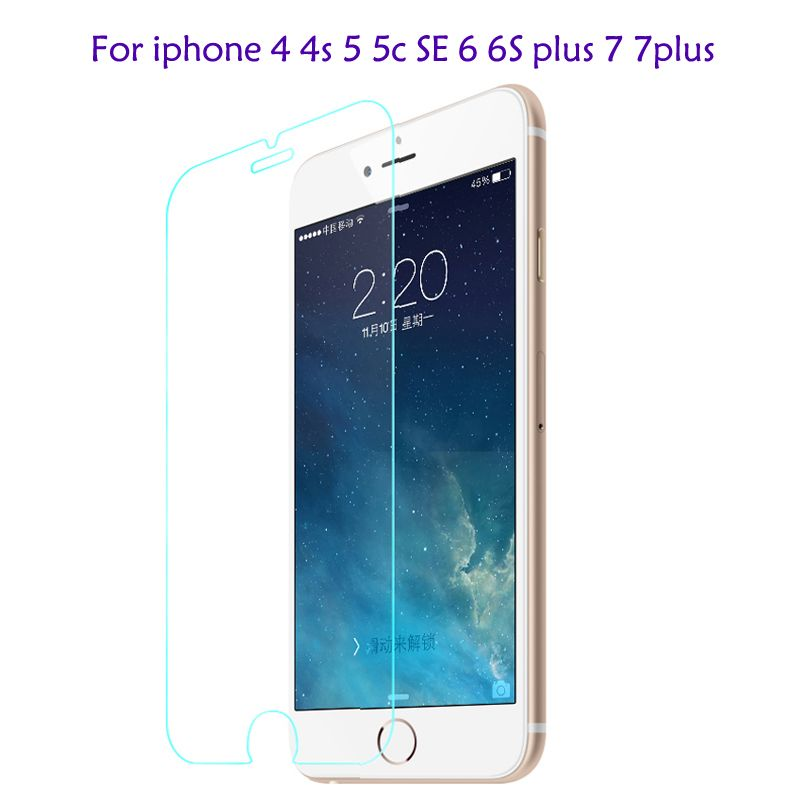 0.28mm 9H tempered glass screen protector For iphone 4s 5 5s SE 6 6s plus 7 plus protective film front cover case