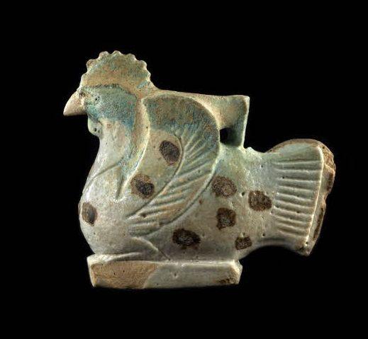 Aryballe en forme de coq, Egypte, XXVIe dynastie, faïence égyptienne