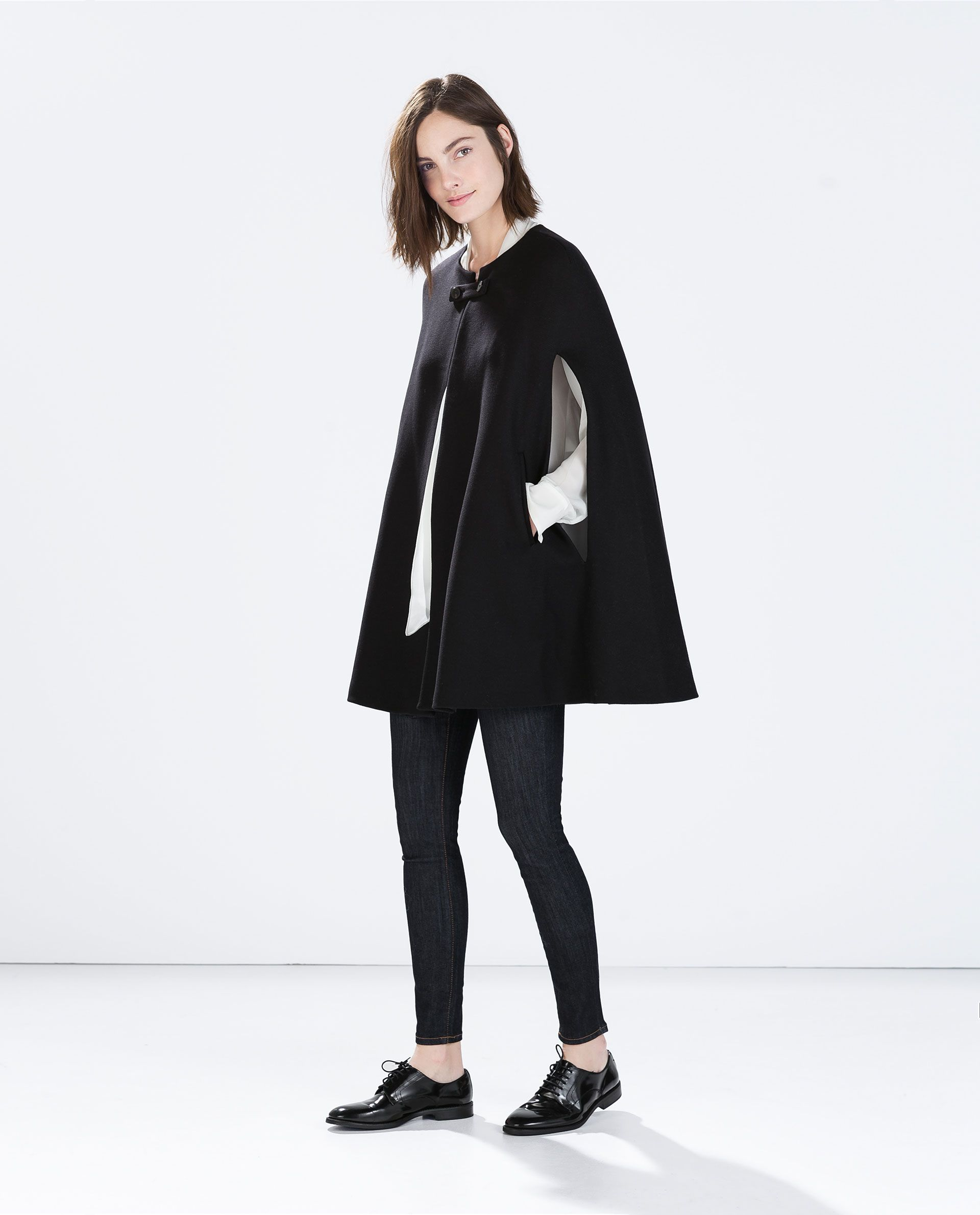 BUTTONED CAPE COAT from Zara | her | Pinterest | Cape coat, Coat and ...
