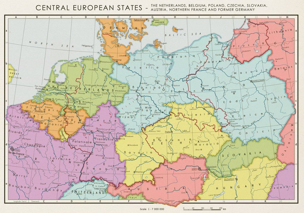 a map by the allies about how central europe could look like without a german nation