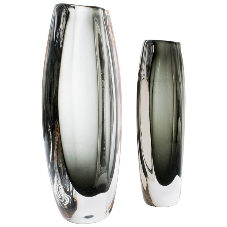 Two Nils Landberg Glass Vases Orrefors Sweden Scandinavian Modern In 2020 Modern Glass Vases Glass Vase