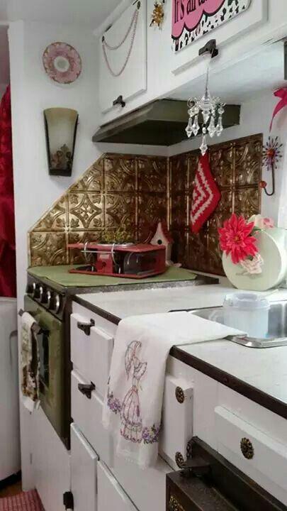 Pressed tin tile backsplash - brilliant! Rv remodeling Pinterest