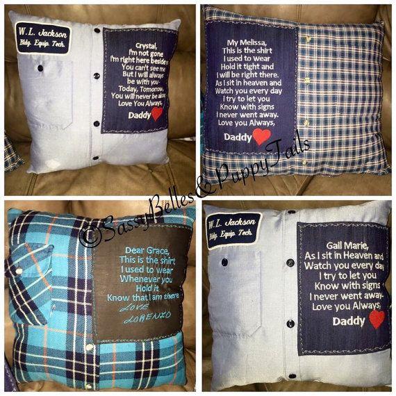 Memory pillow from shirt memorial pillow grief pillow