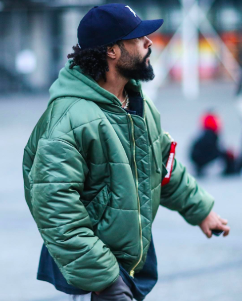 434df3f28e5e69 Jerry Lorenzo was spotted wearing his Vetements x Alpha jacket outside the  Vetements Fall Winter 2017 show in Paris.